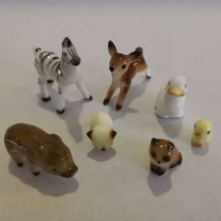 Fine Porcelain miniature animals figurine set of 7