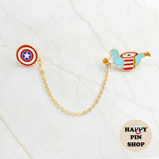 Captain America & Shield chain pin - Plump Superhero series