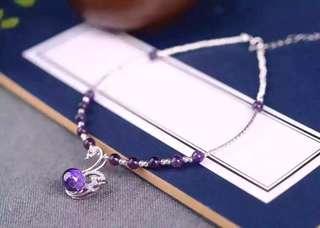 天然紫水晶腳鏈 s925純銀 紫剛玉天鵝吊墜