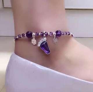 天然紫水晶純銀豆豆腳鏈 配s925小腳Y吊墜
