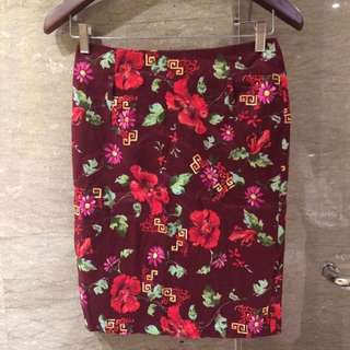 Chocolate Original Authentic 100%, Red Maroon Formal Skirt with Floral