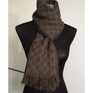 Authentic GUCCI 100% Wool Reversible Scarf