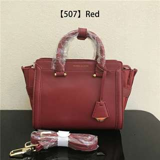 AUTHENTIC CHARLES & KEITH TRAPEZ SATCHEL  RED COLOR ONLY