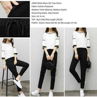 White Black SET Top+Pants