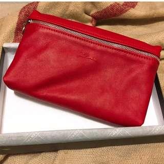 LONHCHAMP 小羊皮 手拿包 化妝包 經典紅 法國製造