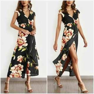 🌸Maxi Wrap Dress w string  belt