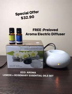 ECO. AROMA LEMON ESSENTIAL OIL 10ML + ROSEMARY ESSENTIAL OIL 10ML. AUTHENTIC FROM AUSTRALIA. FREE : PRELOVED LIGHTLY USED AROMA ELECTRIC DIFFUSER in original packing.