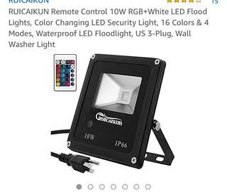 392• RUICAIKUN Remote Control 10W RGB+White LED Flood Lights, Color Changing LED Security Light, 16 Colors & 4 Modes, Waterproof LED Floodlight, US 3-Plug, Wall Washer Light