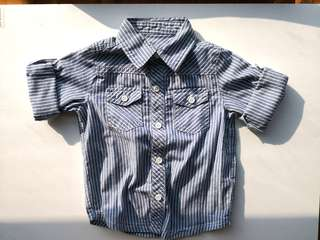 PRELOVED Boy's Blue With White Pin Stripes Long Sleeves Shirt - in excellent condition
