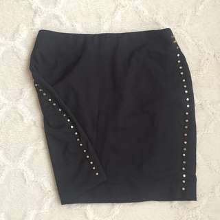Black with Gold Studs Skirt
