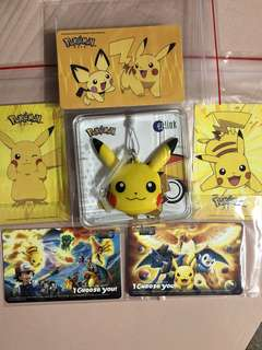 Limited edition brand new set of Pikachu Ezlink charm , Ezlink cards for $118.