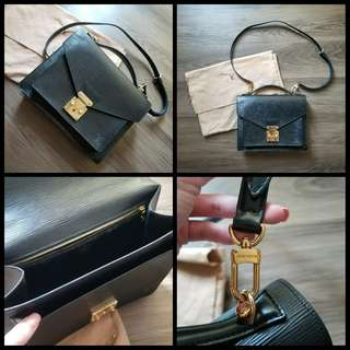 90%New LV Louis Vuitton 2-Way Bag in Black 樹皮紋袋