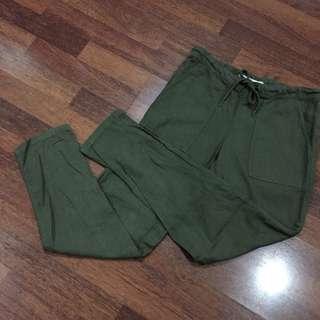 Mango Navy Green Linen Pants