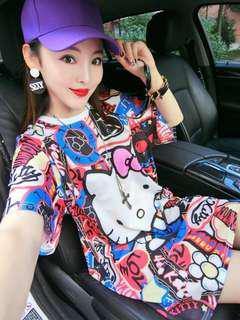 Spree Hello kitty & other design oversized BF Tee dress