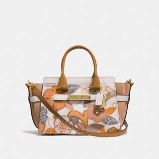ORIGINAL COACH SWAGGER 27 WITH PATCHWORK TEA ROSE AND SNAKESKIN