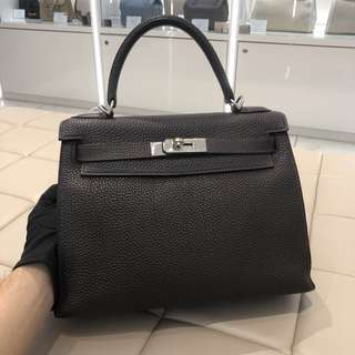 Hermes kelly 28 dark brown no strap