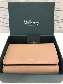 Mulberry wallet 全新 真品 銀包 購自英國selfridges continental french medium leather purse rosewater有單 免運費 purse coin bag cardholder