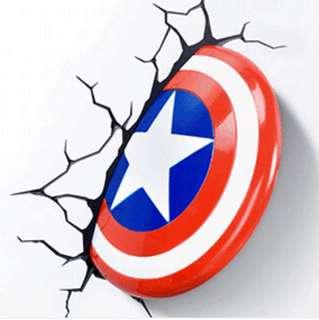 Captain America Shield 3D Wall Light
