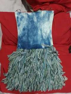 Faded denim dress