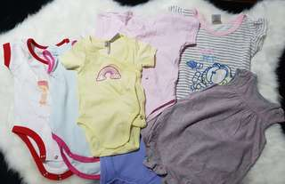 7 Baby girl onesies set