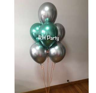 (6/7) Include Helium chrome latex balloon bouquet