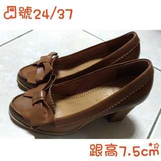 🚚 班牙SALLY ANGEL咖啡色蝴蝶結粗跟高跟鞋24/37