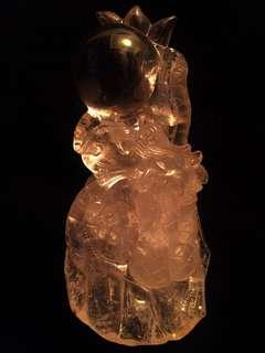 白水晶祥龙戏珠11x24