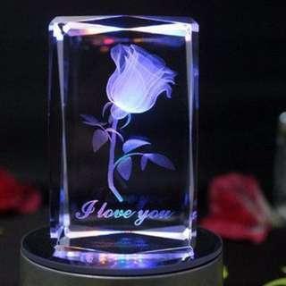 3D 立體旋轉玫瑰花 I love you 內雕 音樂版 七彩漸變炫光USB水晶燈座 * 最後一件