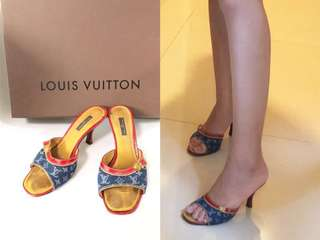💯真品 Auth Louis Vuitton LV denim sandals 牛仔布配真皮高跟女神鞋涼鞋 35碼