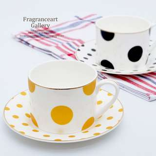 Nordic Trendy Dot Pattern Teacup and Plate, 北歐時尚波點咖啡杯碟