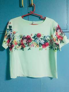 Light Green Blouse with Floral Design on Chest