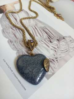 Long Vintage Sweater Heart Necklace