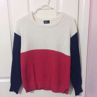 Red/Navy/White Knit Sweater