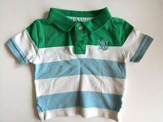 PRELOVED COTTON ON KIDS Green & Light Blue Stripes Boys Collared T-shirt - in very good condition with minor flaw
