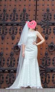 二手婚紗 魚尾 長拖尾 旗袍領口 平口 兩穿