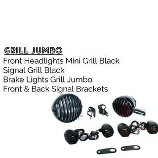 Set Motorbike/ Caferacer Headlights/ Lamp Grill Jumbo