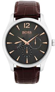 BRAND NEW BOSS Men's Croc-Embossed Leather Watch, 41mm
