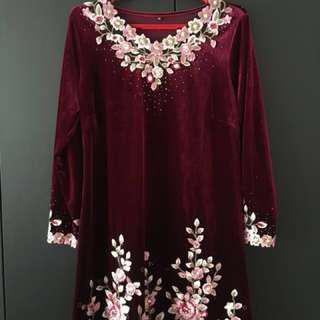evening velvet embroidery dress