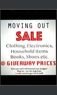 Moving Out Sale clothes supplies men women