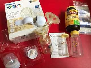 🚚 Avent 手動單邊擠乳器 ~送大豆卵磷脂、儲存瓶*2、儲存袋