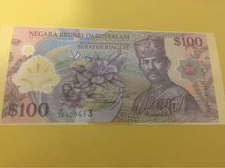 汶萊2013 100BND 全新頂級直版 Brunei 100$ gem unc