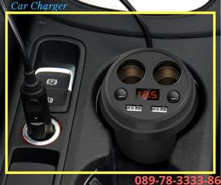 Multifunctional Car Charger 2 Socket Lighter + 2 USB LED Display