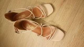 粉色繞帶低跟涼鞋_膚色 23.5_婚鞋_婚禮_謝師宴