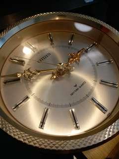 日本CITIZEN古董金屬高頻石英座鐘