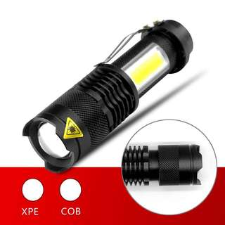 XPE COB LED Flashlight Portable Mini ZOOM torch Q5 flash Lamp light Use AA 14500 Battery Waterproof Lighting Camping lantern