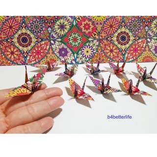 "#FCA-19. Lot of 80pcs 3-Inch Kaleidoscope Design Origami Cranes Hand-folded From 3"" x 3"" Square Paper. (WR paper series)."