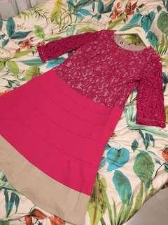 Anne Klein fuchsia lace sleeve dress 🌷
