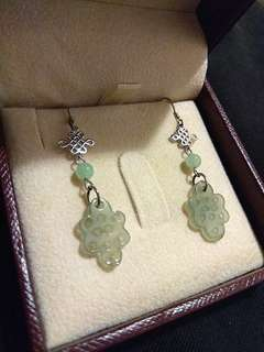 Jade and Sterling Silver 925 Auspiscious Knots Earrings from HKTDC
