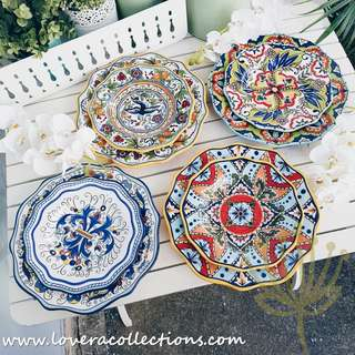 Espana Blue / Green / Orange / Yellow Salad & Dinner Plates Dinnerware Tableware Dining Collection (PLS READ INFO)