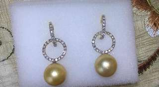 Golden South Sea Pearls w/ Real Diamonds